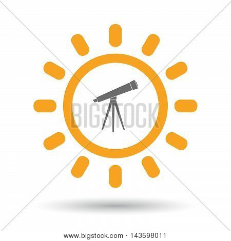 Isolated Line Art Sun Icon With A Telescope