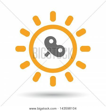 Isolated Line Art Sun Icon With A Toy Crank