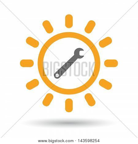 Isolated Line Art Sun Icon With A Spanner