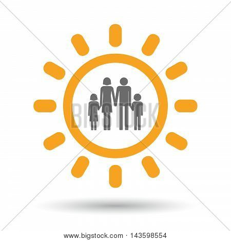 Isolated Line Art Sun Icon With A Conventional Family Pictogram