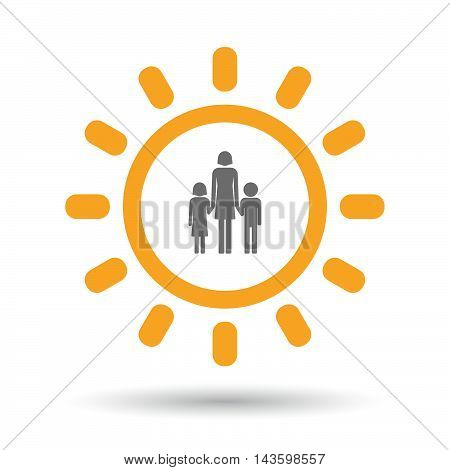 Isolated Line Art Sun Icon With A Female Single Parent Family Pictogram
