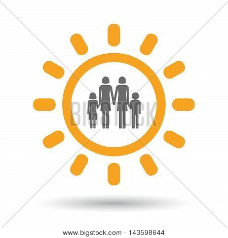 Isolated Line Art Sun Icon With A Lesbian Parents Family Pictogram