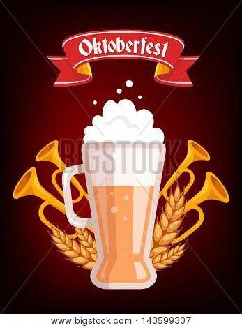 Vector Colorful Illustration Of Big Mug Of Yellow Beer With Ears Wheat, Trumpets, Red Ribbon And Tex