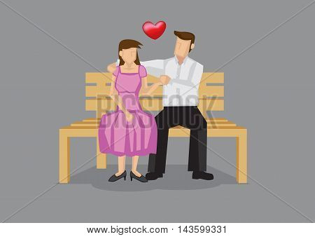 Vector illustration of dating couple sitting on wooden bench and holding hands isolated on plain grey background.