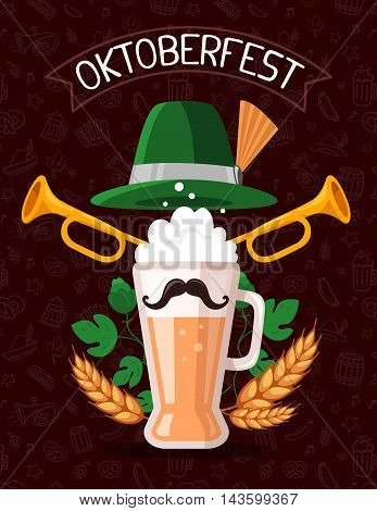 Vector Colorful Illustration Of Big Mug Of Yellow Beer With Ears Wheat, Green Leaf Hops, Trumpets, H