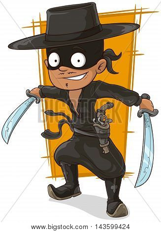 A vector illustration of cartoon man in black mask with swords