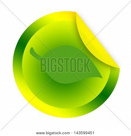 Green leaf sticker on a white background