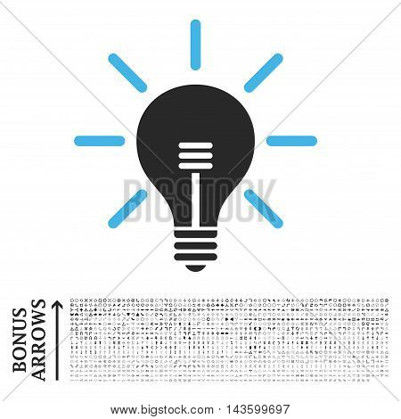 Light Bulb icon with 1200 bonus arrow and navigation pictograms. Vector illustration style is flat iconic bicolor symbols, blue and gray colors, white background.