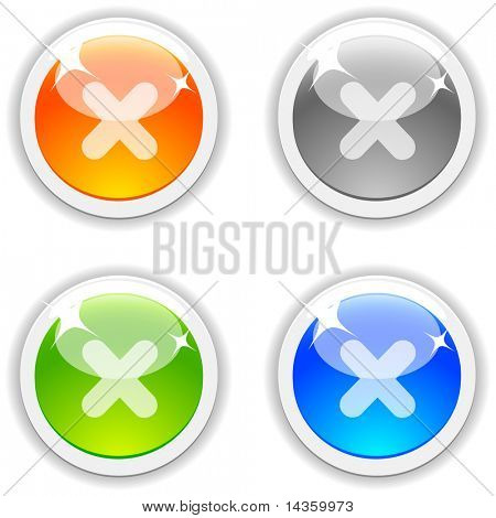 Cancel realistic buttons. Vector illustration.