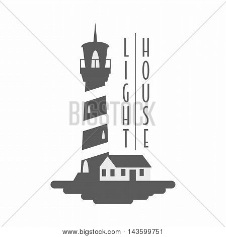 Lighthouse Vector Logo, Badge Or Label Concept. Black And White Monochrome Illustration