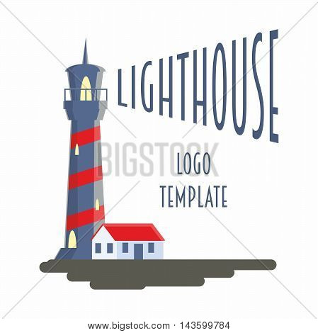 Logo, Sign Or Label Design Template With Lighthouse