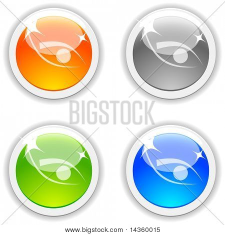 Eye realistic buttons. Vector illustration.