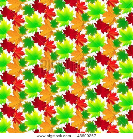 Seamless background of bright and colorful autumn leaves