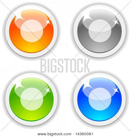 Rec realistic buttons. Vector illustration.