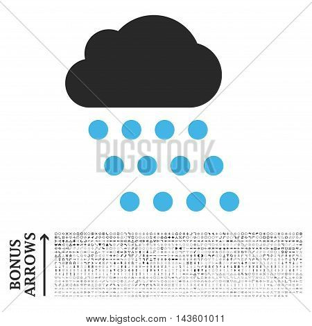 Rain Cloud icon with 1200 bonus arrow and direction pictograms. Vector illustration style is flat iconic bicolor symbols, blue and gray colors, white background.