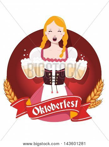 Vector Colorful Illustration Of German Girl Waitress In Traditional Clothes Holding Yellow Beer Mugs
