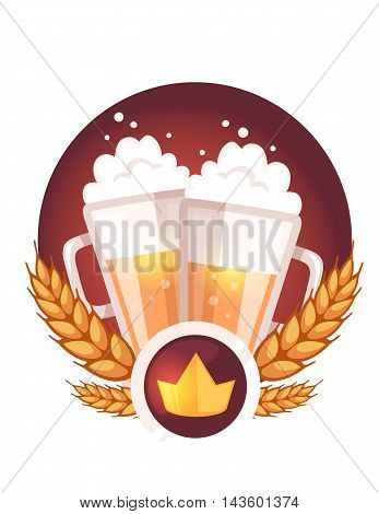 Vector Colorful Illustration Of Two Big Mugs Of Yellow Beer With Golden Crown, Ears Wheat, Red Ribbo