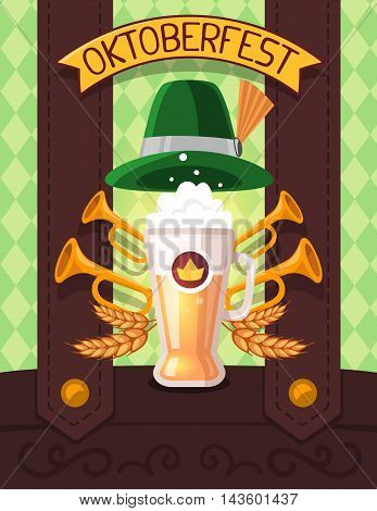 Vector Colorful Illustration Of Big Mug Of Yellow Beer With Ears Wheat, Trumpets, Green Hat, Ribbon