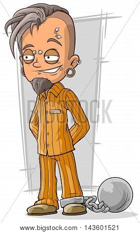 A vector illustration of cartoon piercing prisoner in orange robe