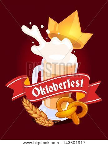 Vector Colorful Illustration Of Big Mug Of Yellow Beer With Golden Crown, Ears Wheat, Pretzel, Red R