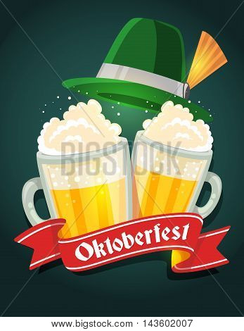 Vector Colorful Illustration Of Two Big Mugs Of Yellow Beer With Green Hat, Red Ribbon And Text On D