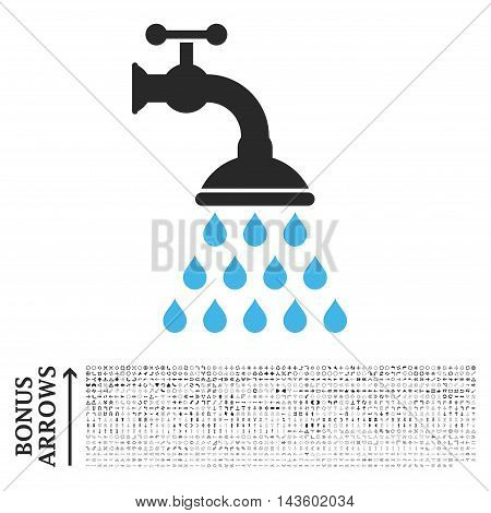 Shower Tap icon with 1200 bonus arrow and direction pictograms. Vector illustration style is flat iconic bicolor symbols, blue and gray colors, white background.