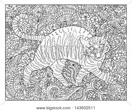 Hand drawn cat against zen floral pattern background for adult coloring book. Chinese new year astrological sign, horoscope and zodiac vector symbol, graphic illustration, vintage engraved style