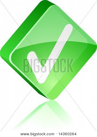 Validation glass button. Vector illustration.