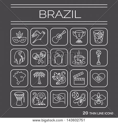 Thin line icons set Brasil 2. EPS 10. Isolated objects