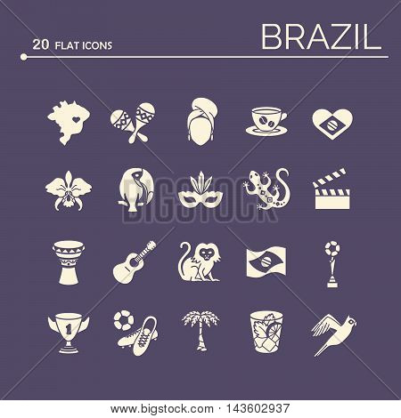 Flat icons Brazil 6 EPS 10. Isolated objects