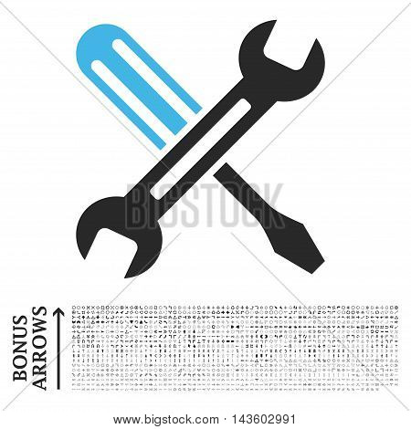 Tuning icon with 1200 bonus arrow and navigation pictograms. Vector illustration style is flat iconic bicolor symbols, blue and gray colors, white background.