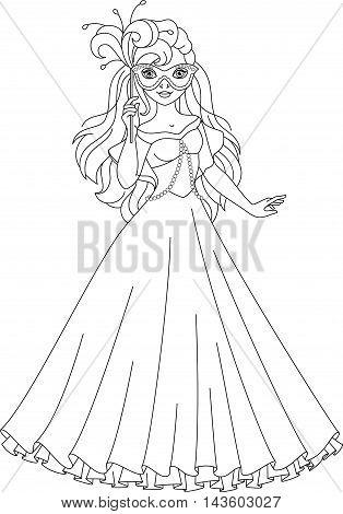 Image Princess dress for masquerade, Coloring Page