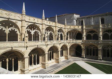 Backyard of Jeronimos Monastery Portugal in Lisbon Europe