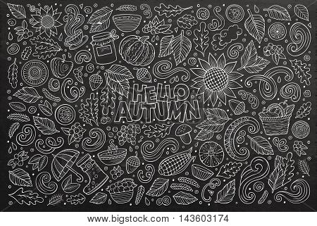 Line art chalkboard vector hand drawn doodle cartoon set of Autumn theme items, objects and symbols