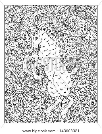 Hand drawn goat against zen floral pattern background for adult coloring book. Chinese new year astrological sign, horoscope and zodiac vector symbol, graphic illustration, vintage engraved style