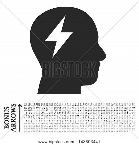 Brainstorming icon with 1200 bonus arrow and direction pictograms. Vector illustration style is flat iconic symbols, gray color, white background.