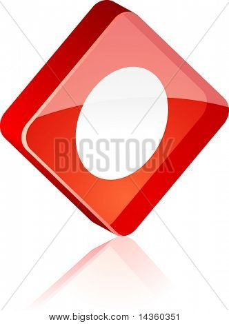 Rec glass button. Vector illustration.