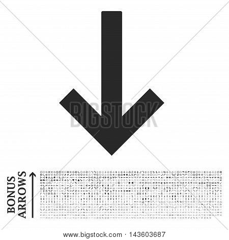 Down Arrow icon with 1200 bonus arrow and navigation pictograms. Vector illustration style is flat iconic symbols, gray color, white background.