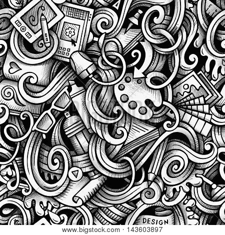 Cartoon hand-drawn doodles Design and Art seamless pattern. Line art trace detailed, with lots of objects vector background
