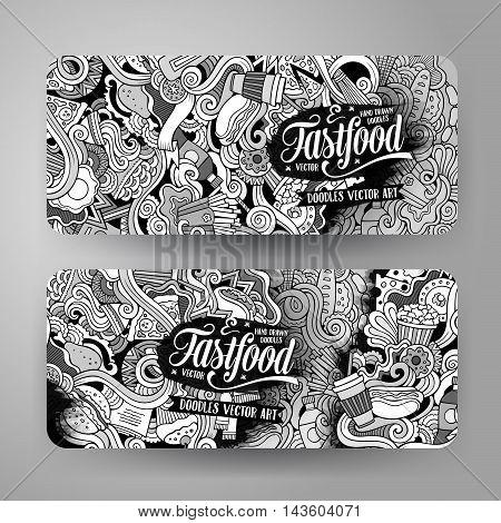 Cartoon cute line art vector hand drawn doodles fast food corporate identity. 2 horizontal banners design. Templates set