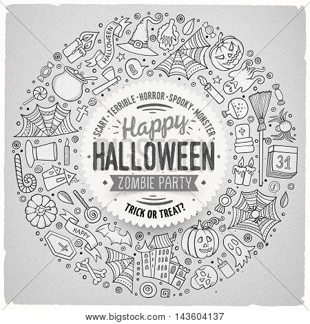 Line art vector hand drawn set of Halloween cartoon doodle objects, symbols and items. Round frame composition