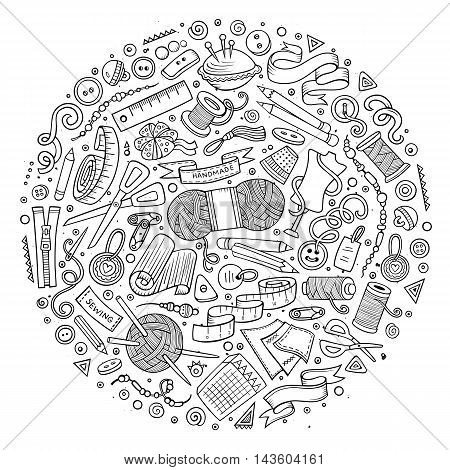 Line art vector hand drawn set of Hand Made cartoon doodle objects, symbols and items. Round composition