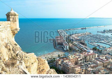 Coast and Harbor of Alicante. View from Santa Barbara Castle