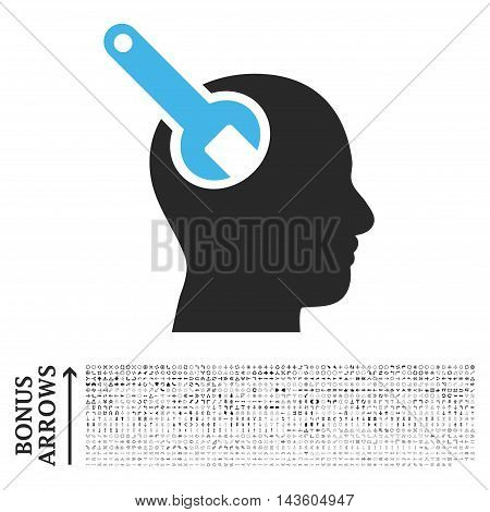 Brain Tool icon with 1200 bonus arrow and direction pictograms. Glyph illustration style is flat iconic bicolor symbols, blue and gray colors, white background.