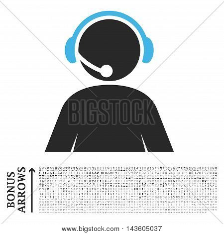 Call Center Operator icon with 1200 bonus arrow and direction pictograms. Glyph illustration style is flat iconic bicolor symbols, blue and gray colors, white background.