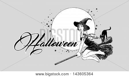Young halloween witch flying on broom vector illustration graphics for party poster