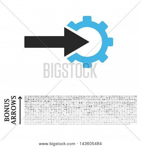 Cog Integration icon with 1200 bonus arrow and navigation pictograms. Glyph illustration style is flat iconic bicolor symbols, blue and gray colors, white background.