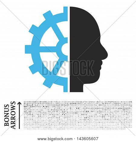 Cyborg Gear icon with 1200 bonus arrow and direction pictograms. Glyph illustration style is flat iconic bicolor symbols, blue and gray colors, white background.