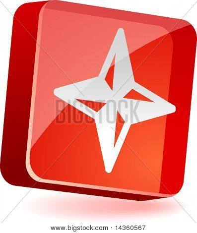 Compass 3d icon. Vector illustration.