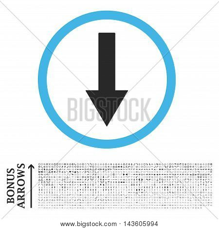 Down Rounded Arrow icon with 1200 bonus arrow and navigation pictograms. Glyph illustration style is flat iconic bicolor symbols, blue and gray colors, white background.